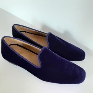 Lands' End Royal Purple Velvet Slip on Loafer Sz 6